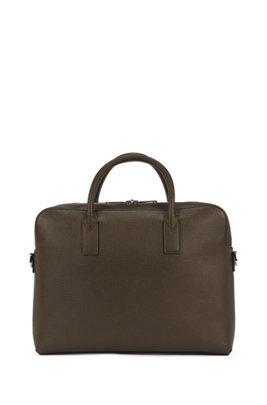 Single document case in embossed Italian leather, Dark Green