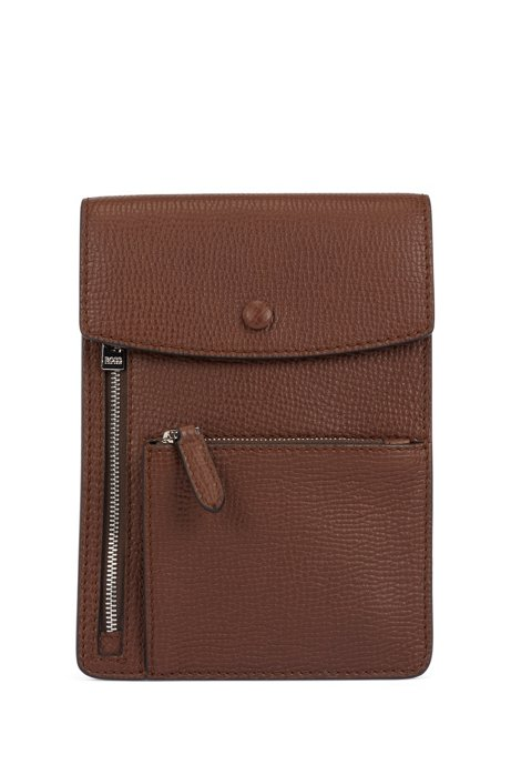 Envelope bag in embossed Italian leather with polished hardware, Brown
