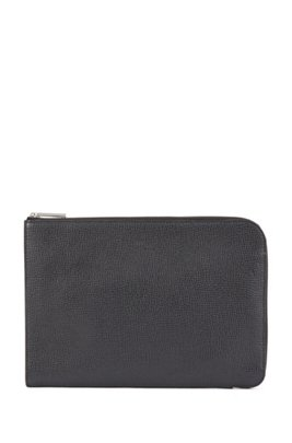 Portfolio case in embossed calf leather, Black