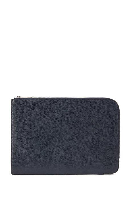 Portfolio case in embossed calf leather, Dark Blue