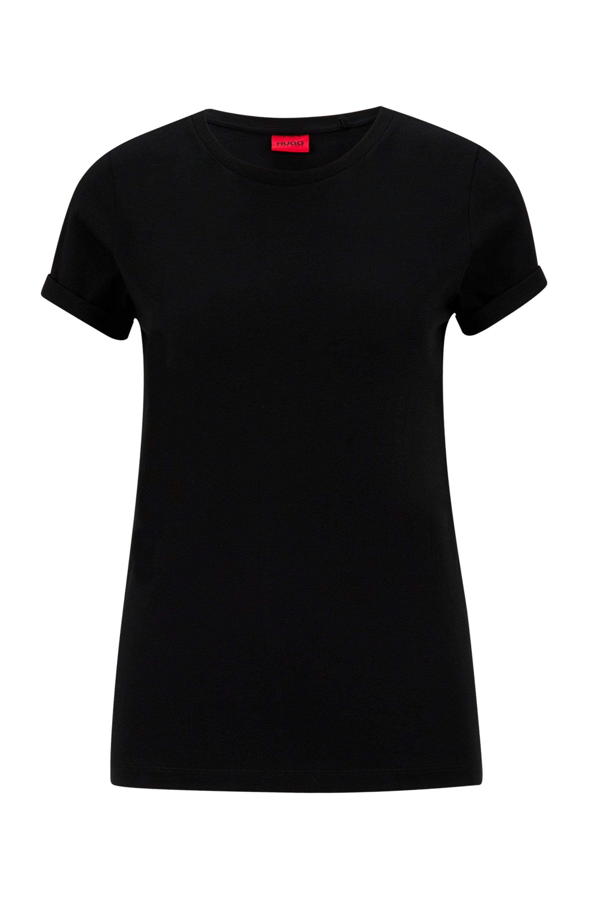 T-shirt en jersey de coton à logo inversé imprimé, Noir