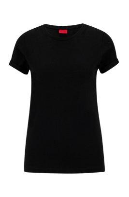 Camiseta de punto de algodón con logo estampado invertido, Negro