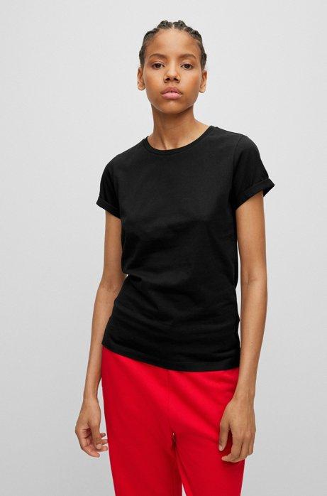 T-shirt slim fit in cotone con logo reversed , Nero