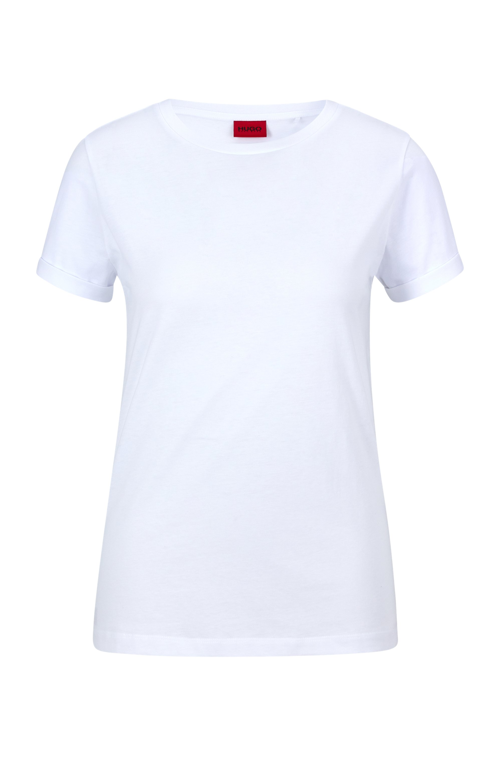 Cotton-jersey T-shirt with reversed-logo print, White