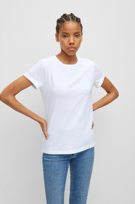 Slim-fit T-shirt in cotton with reverse-logo , White