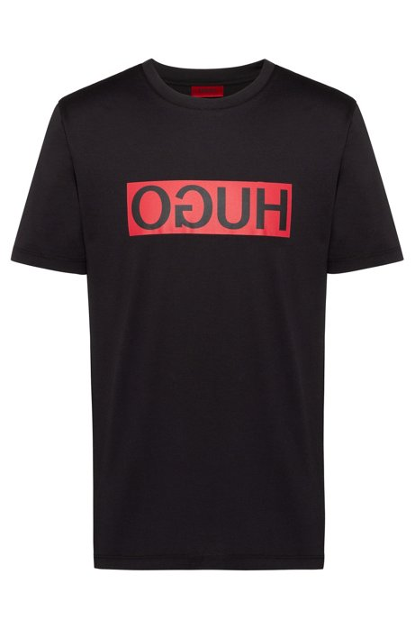 Regular-fit T-shirt with reverse-logo print, Black