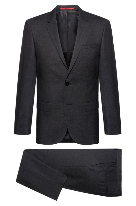 Slim-fit suit in a micro-patterned virgin-wool blend, Anthracite