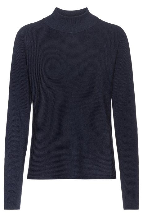 Relaxed-fit sweater in extra-fine merino, Dark Blue