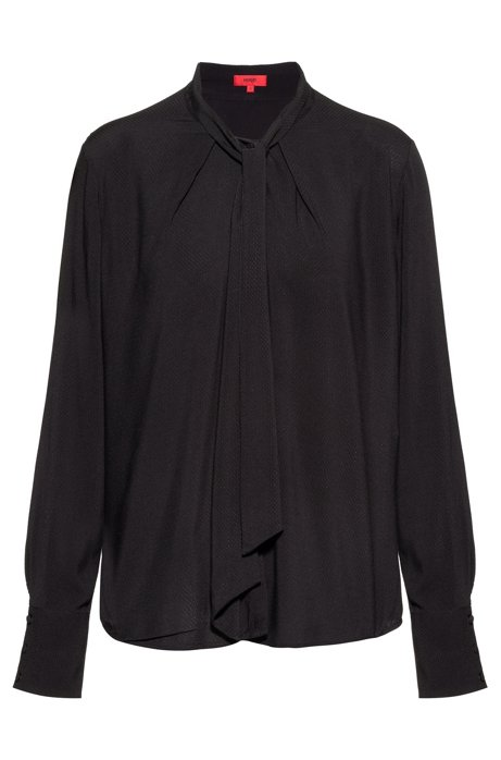 Regular-fit blouse in check with bow collar, Black