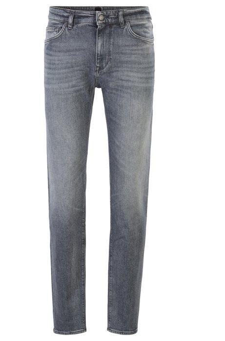 Regular-fit jeans in Italian comfort-stretch denim, Grey
