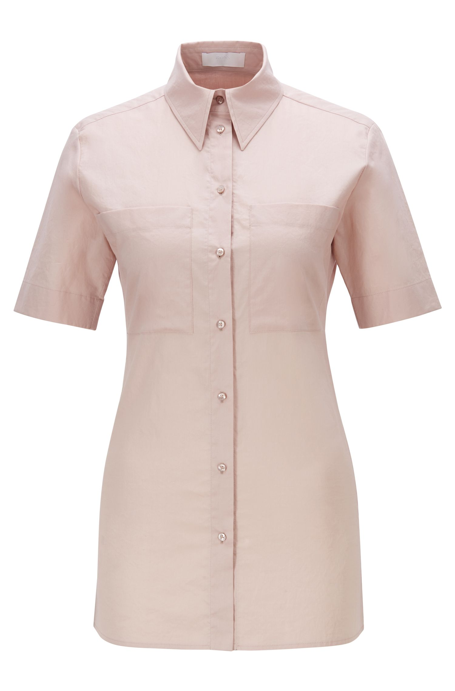 Blusa slim fit de manga corta con bolsillos cosidos en el pecho, Rosa claro