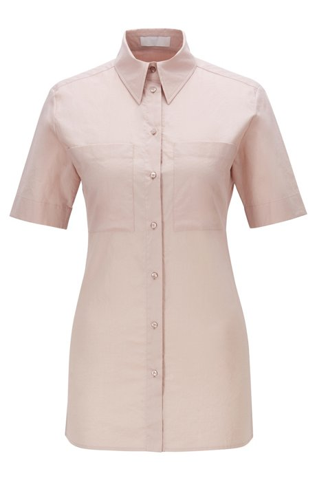 Short-sleeved slim-fit blouse with patch chest pockets, light pink