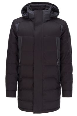 Water-repellent down jacket with detachable hood, Black