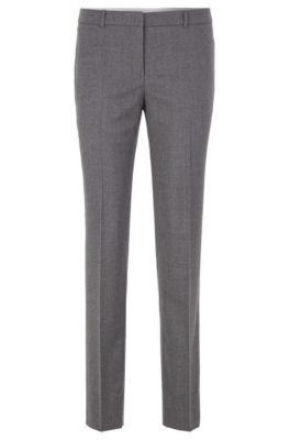 Slim-fit broek in een iets kortere lengte van stretchwol , Grijs