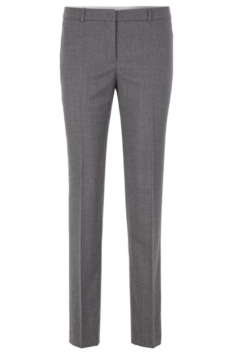 Pantalon Slim Fit en laine stretch, à la coupe courte , Gris
