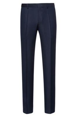 Slim-fit trousers in patterned virgin wool, Dark Blue
