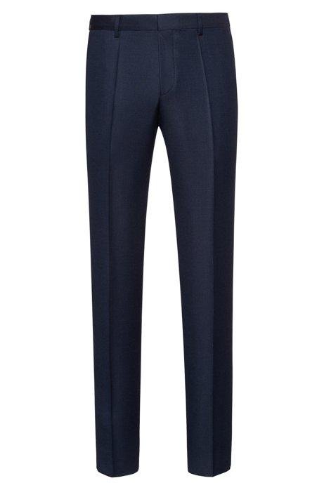 Pantalones slim fit en lana virgen estampada, Azul oscuro