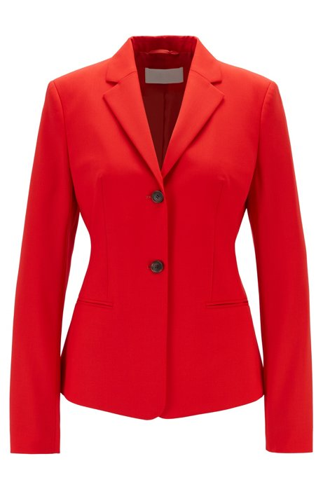 Regular-fit jacket in stretch virgin wool, Red