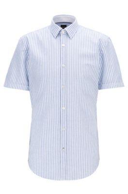 Chemise Slim Fit en coton à rayures et détails contrastants, Bleu