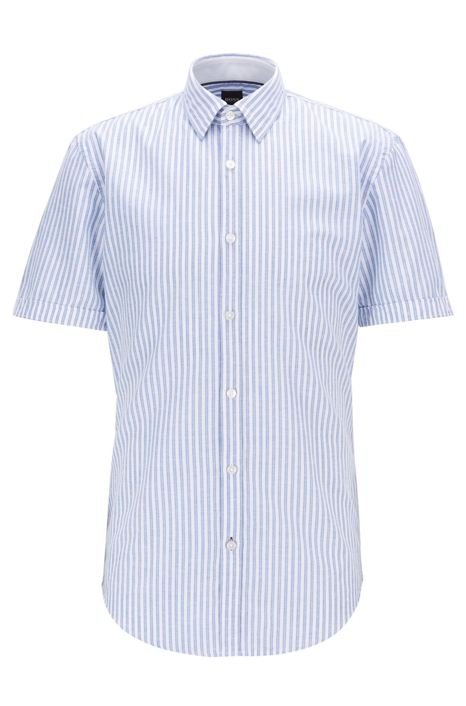 Slim-fit overhemd van gestreepte katoen met contrastdetails, Blauw
