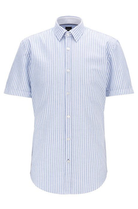 Slim-fit shirt in striped cotton with contrast details, Blue