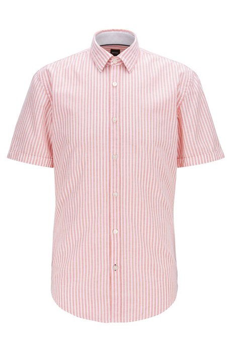 Slim-fit shirt in striped cotton with contrast details, Orange