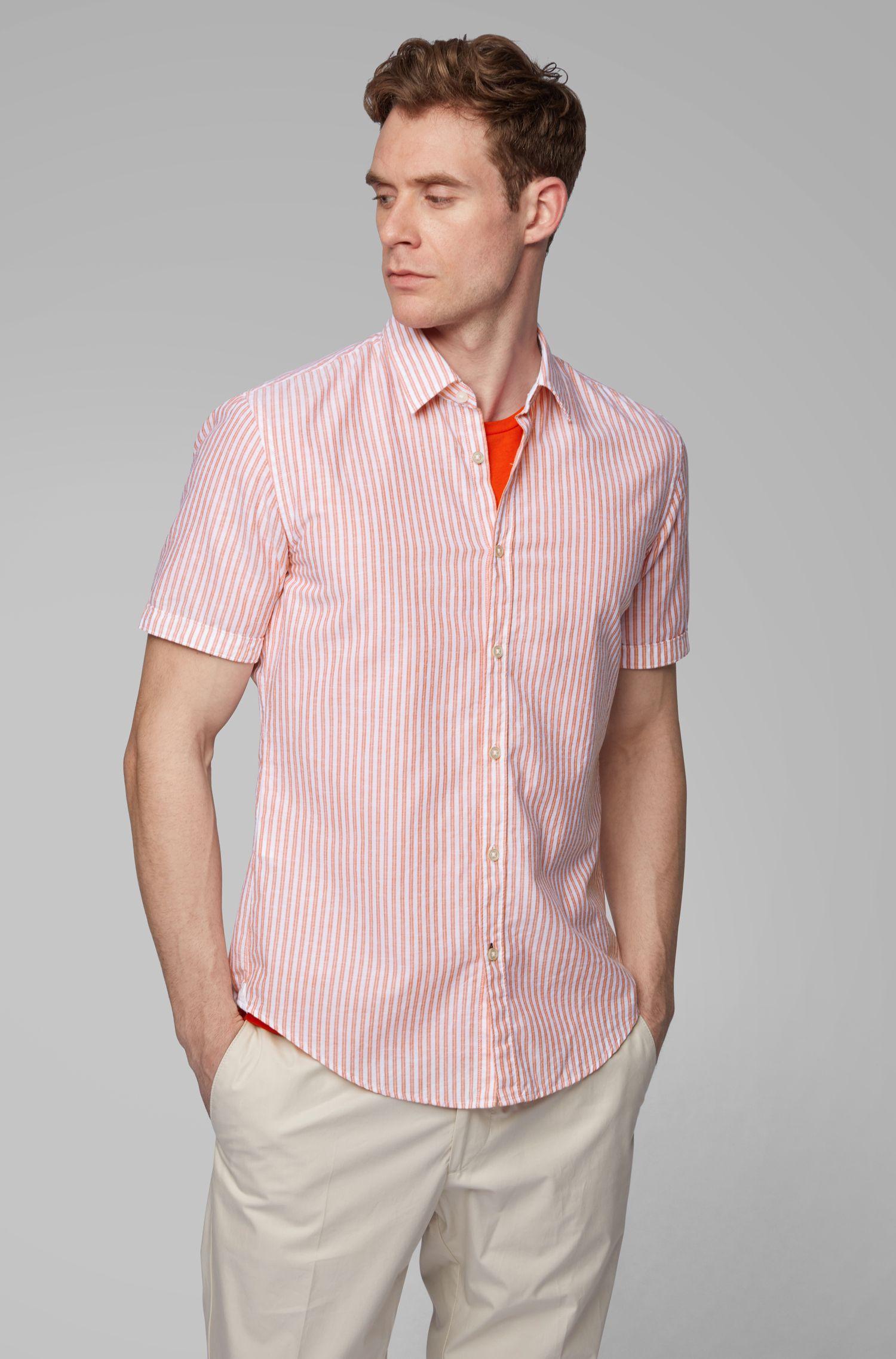 Slim-fit overhemd van gestreepte katoen met contrastdetails, Oranje