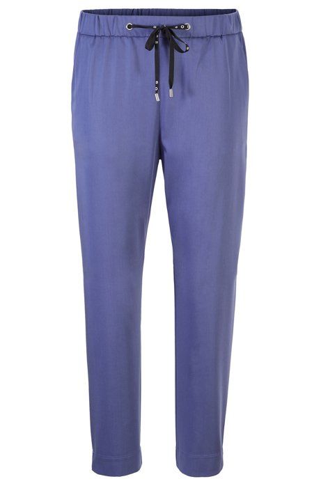 Cropped jogging trousers in lightweight stretch fabric, Dark Purple