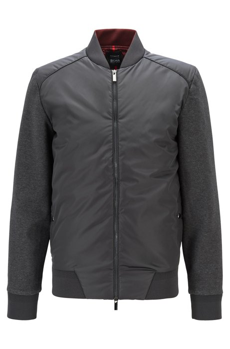 Zip-through sweatshirt with wadded body panel, Grey