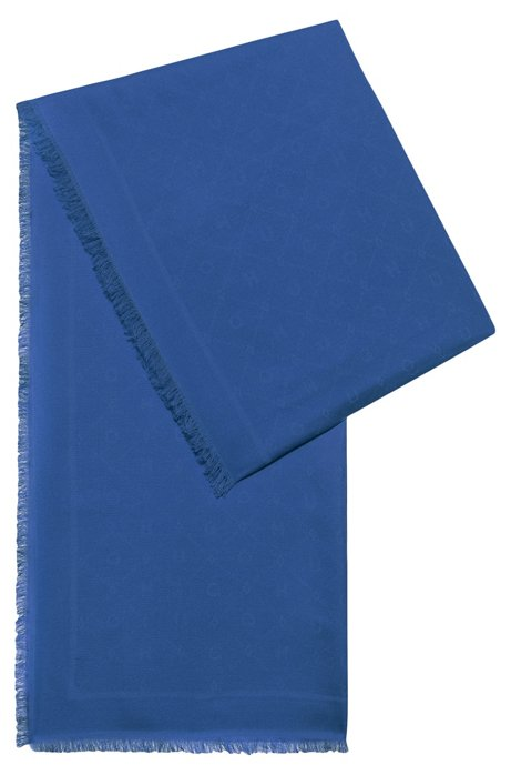 Modal-blend scarf with all-over jacquard logo, Blue