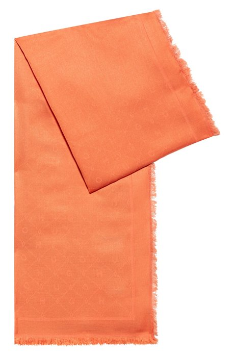 Modal-blend scarf with all-over jacquard logo, Orange