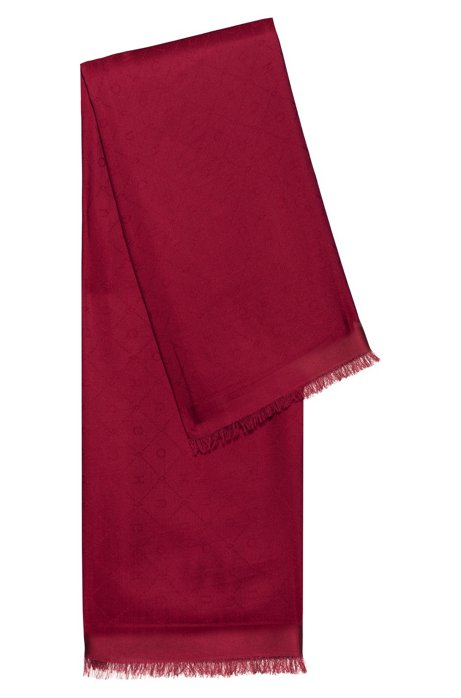 Modal-blend scarf with all-over jacquard logo, Red