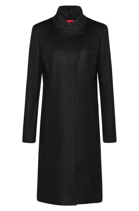 Asymmetric-front coat in a wool blend with cashmere, Black
