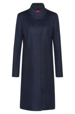 Manteau asymétrique sur le devant, en laine mélangée à teneur en cachemire, Bleu foncé