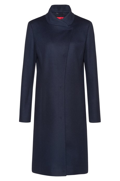 Asymmetric-front coat in a wool blend with cashmere, Dark Blue