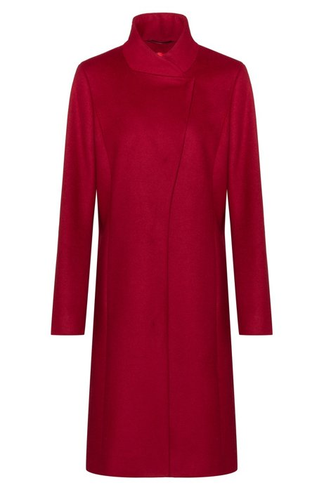 Asymmetric-front coat in a wool blend with cashmere, Red