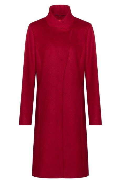 Mantel met asymmetrische voorkant, van een wolmix met kasjmier, Rood
