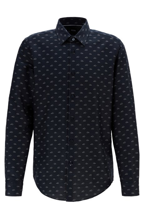 Regular-fit shirt in Italian cotton with exclusive pattern, Dark Blue