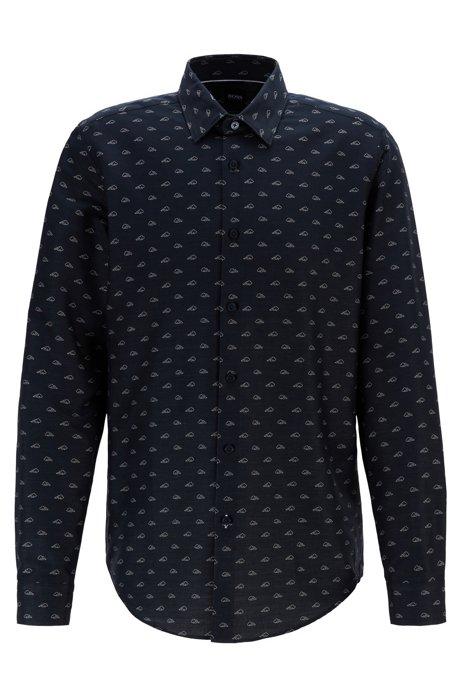 Camisa regular fit en algodón italiano con estampado exclusivo, Azul oscuro