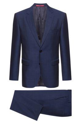 Costume Regular Fit en laine vierge à motif, Bleu foncé