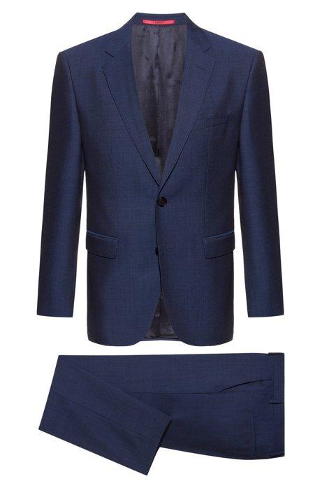 Regular-fit kostuum van scheerwol met dessin, Donkerblauw