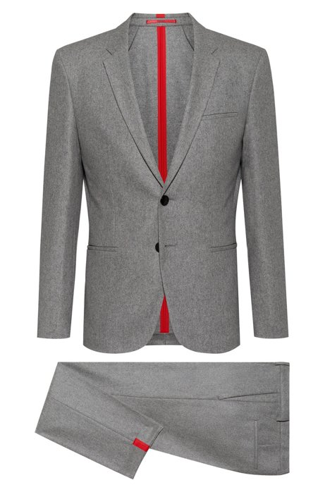Extra-slim-fit suit in a felted wool blend, Grey