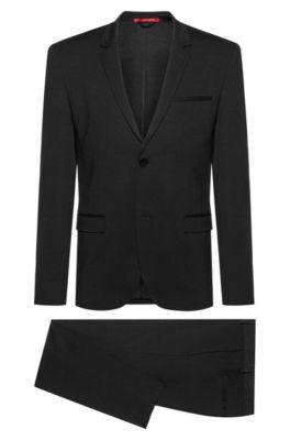 Costume Extra Slim Fit en tissu infroissable facile à transporter, Noir