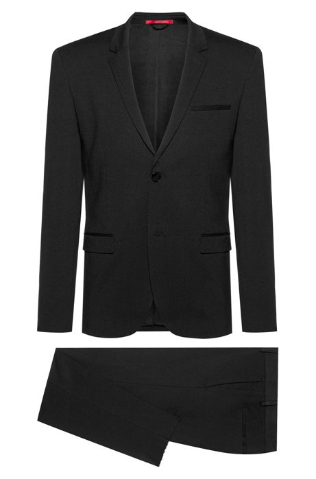 Extra-slim-fit packable suit in crease-resistant fabric, Black