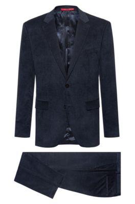 Regular-Fit Anzug aus Baumwoll-Cord mit Jacquard-Innenfutter, Dunkelblau