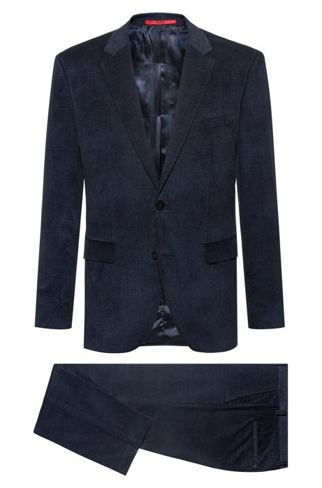 Regular-fit suit in cotton corduroy with jacquard lining, Dark Blue