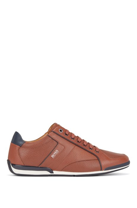 Low-top trainers in grained leather with perforated details, Brown