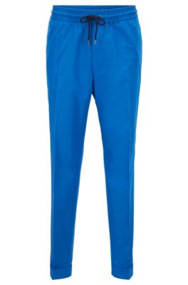 Relaxed-fit cropped trousers in cotton with drawstring waist, Blue