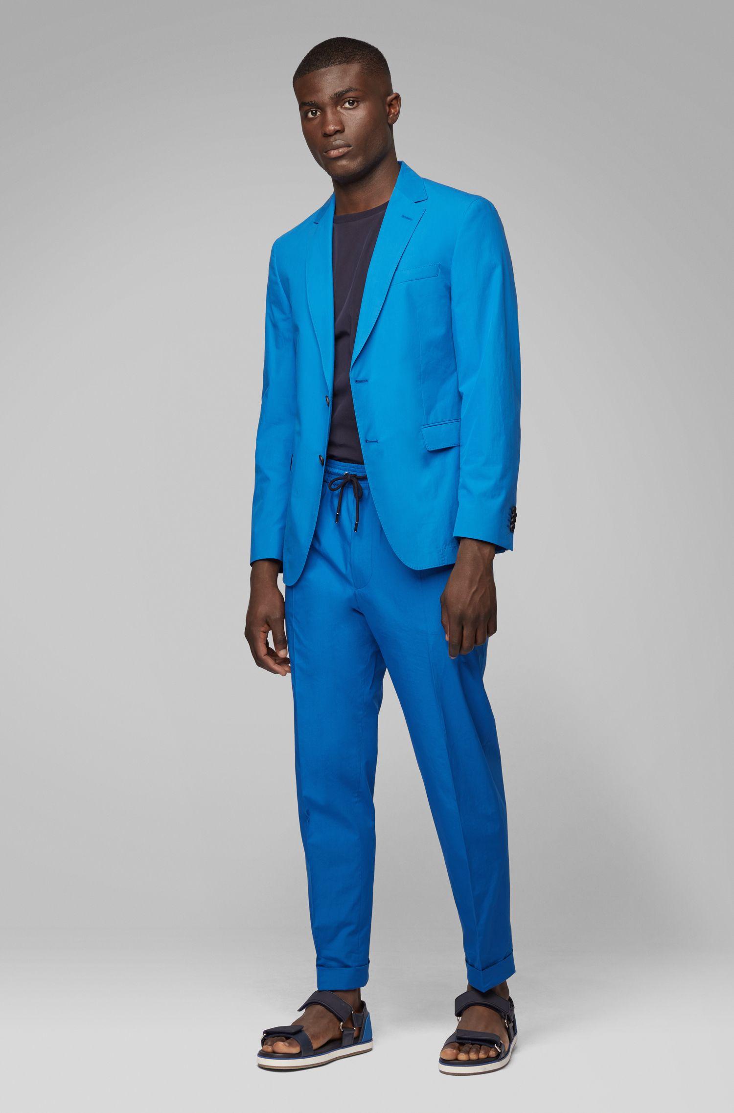 Kortere, relaxed-fit broek van katoen met tailleband met trekkoord, Blauw