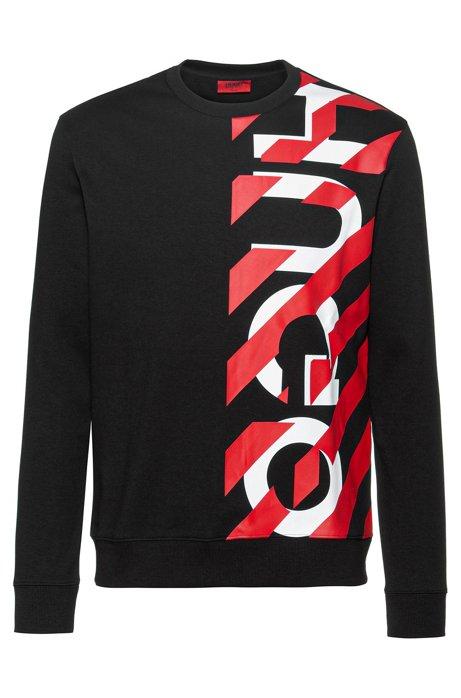 Regular-fit sweater met gestreept logothema, Zwart